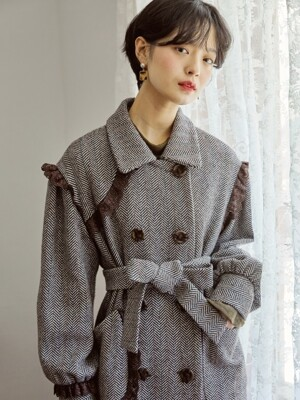 ROCOCO DOUBLE BREASTED COAT _ BROWN
