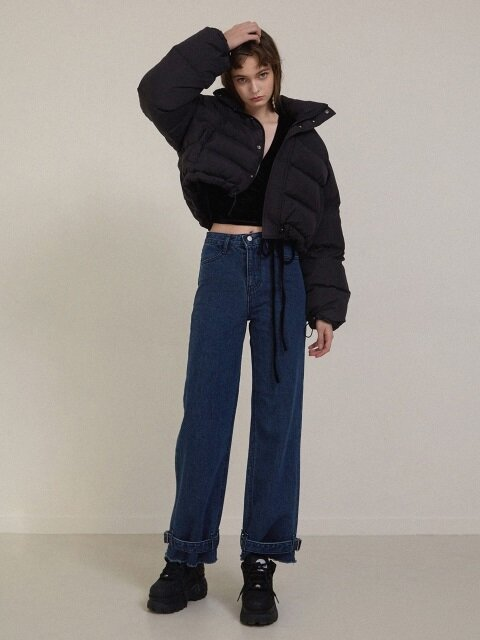 BUCKLE DENIM PANTS blue