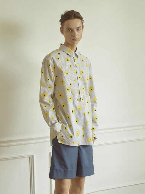 FLOWER STRIPE BIB SHIRT_YELLOW
