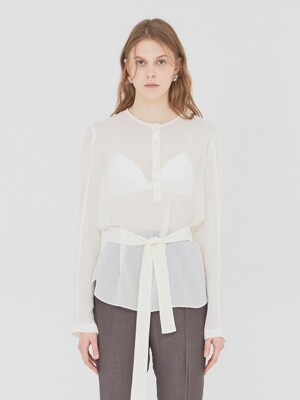 19SS SHEER BLOUSE WITH BELT CREAM