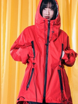 UTO-SS12 ample space hoody rain coat[red(UNISEX)]