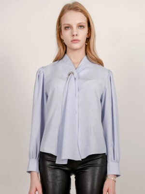 blue scarf layered blouse