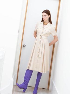 LES notched collar front pocket shirt dress (Almond cream)