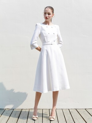 SCARLET boat-neck double button detail dress (Off white)