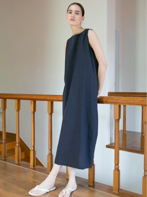 Linen Ballon Dress - Navy
