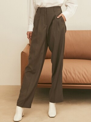 ouie103 Wool maxi highwaist slacks (brown)