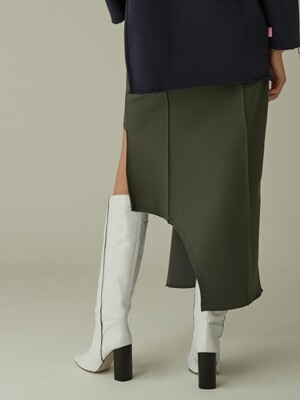 Curved Line Cut-out Skirt - Khaki