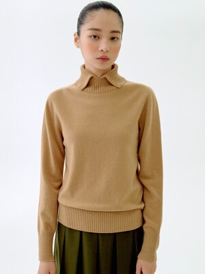 [flat] CAMEL WHOLEGARMENT CASHMERE 10 TURTLE NECK TOP