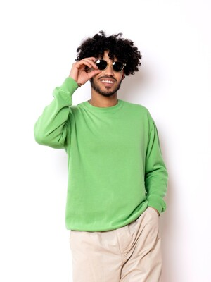Cotton Crew Neck Knit(L.Green)