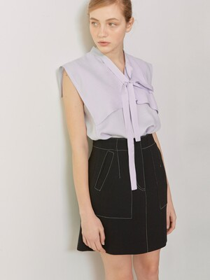 MARINA_Sailored Collar Sleeveless Tie Blouse_Lavender