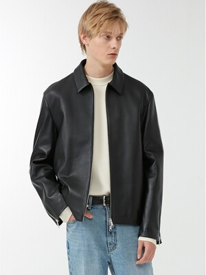 UNISEX ZIPPED SLEEVES LAMBSKIN SINGLE JACKET BLACK UDJU0F101BK