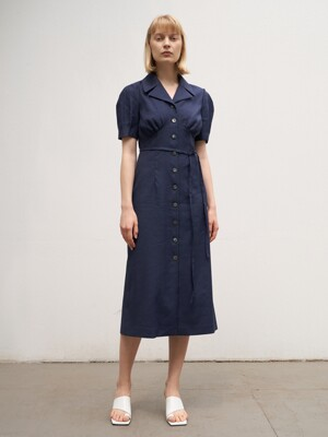 TTR LINEN COLLAR BUTTON DRESS 2COLOR