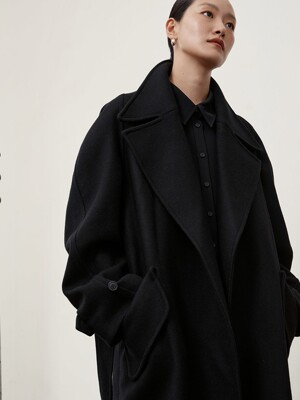 [EXCLUSIVE] WOOL BELT COAT - BLACK