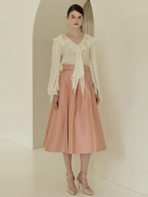 CHARLOTTE Waist tuck detail voluminous silk skirt (Peach pink)