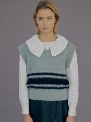 Mohair Blend Stripe Knit Vest / Dusty Mint