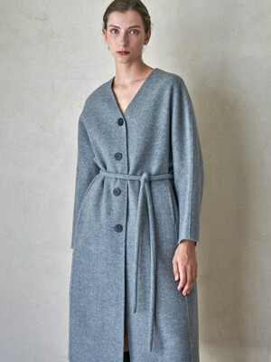 PLUMP BELT COAT_MELANGE GRAY