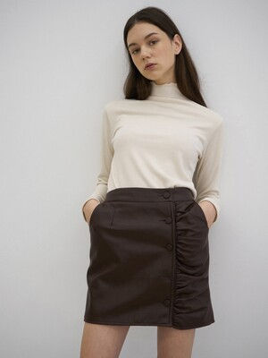 T03 LEATHER SHIRRING SKIRT BROWN