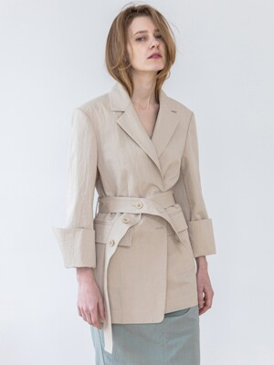 Cotton Blended Belted Jacket-Light Beige