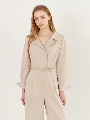 HEATHER Double breasted jumpsuit (Light beige)