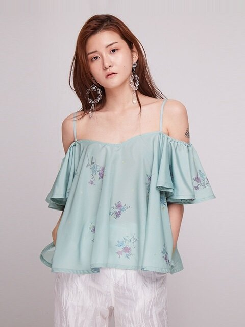 Forget Me Not Off Shoulder Blouse [MINT]