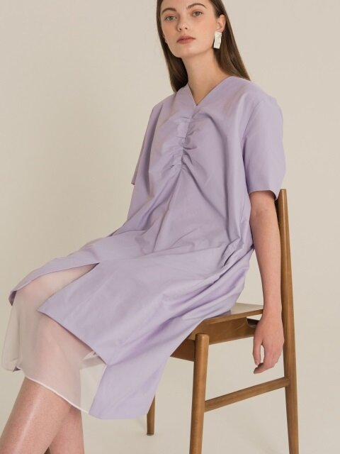 SHIRRING V-NECK DRESS (lavender)