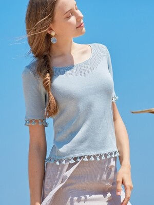 monts722 tassel knitwear (pale blue)