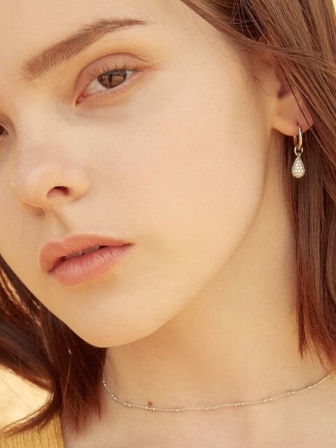 WD PAVE B RING EARRINGS