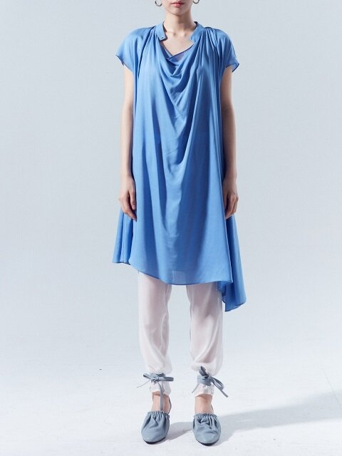 Draped Midi Dress_BLUE