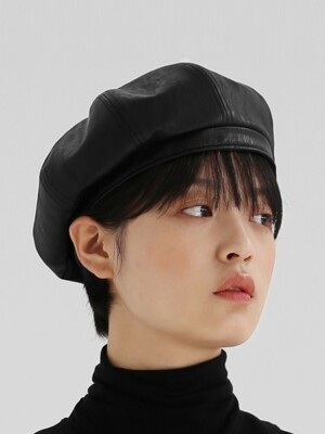 BREAD BERET / LEATHER / M BLACK