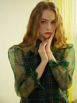 GREEN CHECK SEE-THROUGH BLOUSE