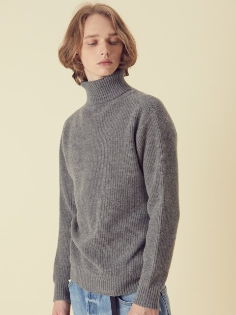 Wool80 Turtle neck Knit - Grey
