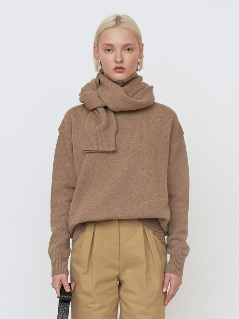 18FW UNISEX OVERSIZED TURTLENECK CASHMERE SWEATER WITH MUFFLER - OATMEAL