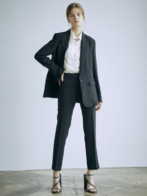 [Drama Signature] Blazer + Straight Trousers SET (BLACK)
