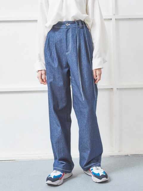 DENIM WIDE PANTS BLUE