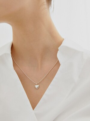 [Silver] Heart Ball Chain Necklace