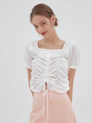 love Shirring blouse[white]