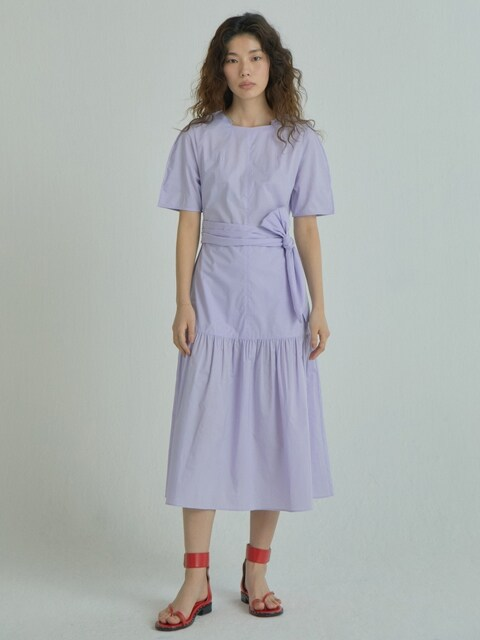Wide Strap Shirring Dress_Lavender