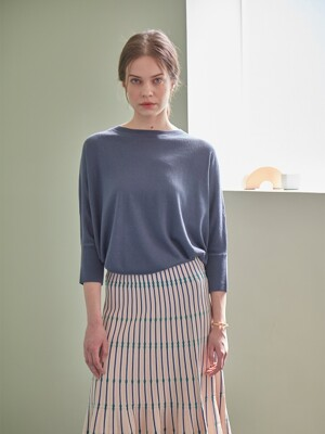 BASIC CASHMERE LOOSE PULLOVER (DARK BLUE)