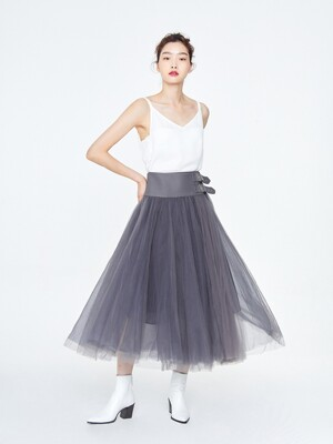 Mesh Pleats Sha Skirt