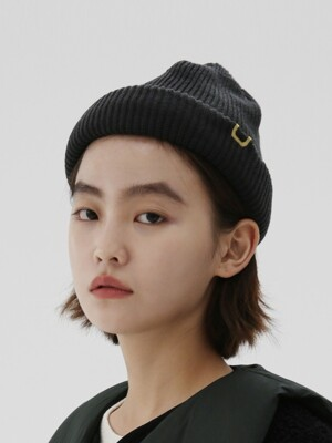 DOUBLE ROLL UP BEANIE / AC / BLACK CHARCOAL