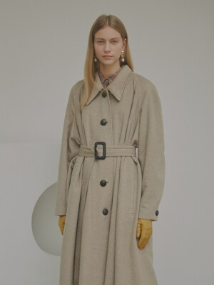 [Premium] Kara A-line Belted Wool Coat_2Color