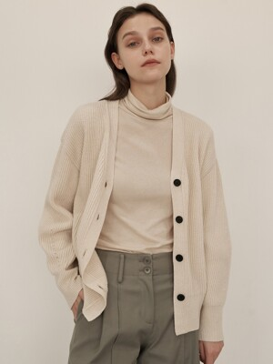 Wool Cash V Cardigan (Ivory)