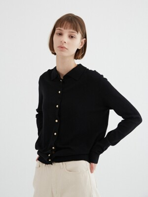 PEARL BUTTON CARDIGAN BLACK