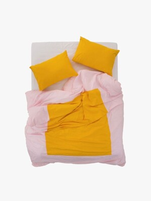 island duvet cover - light pink/ yellow