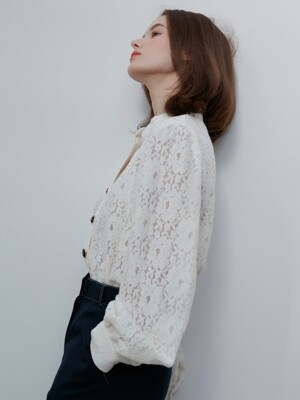 [By Joorti] J390 china collar blouse (ivory)
