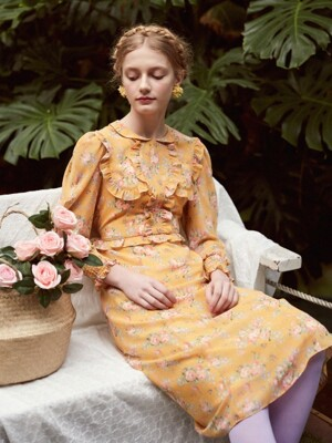 Floral Frill Chiffon Dress (Light Pumpkin Yellow)