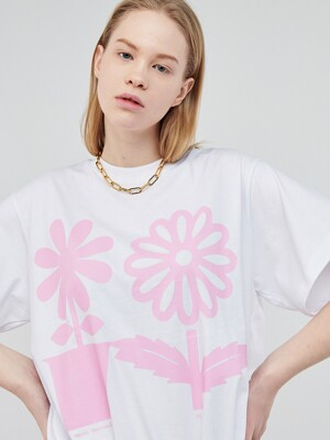 EMOJI FLOWER SHORT SLEEVE WHITE-PINK