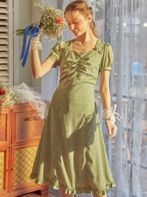 Floral Shirring Midi Dress_ Green