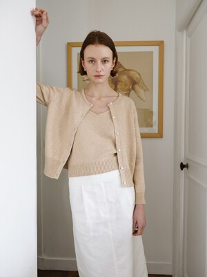 Cote Knit Cardigan Set in Beige