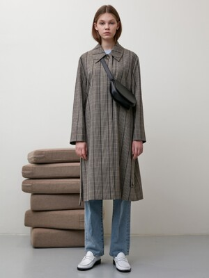 WIDE SLEEVE CHECK SINGLE TRENCH COAT (CHECK) UDTR9F202W2